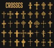 Reeks geïsoleerde kruisen van christelijke godsdienst stock illustratie
