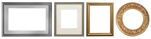 Reeks geïsoleerde kunst lege kaders royalty-vrije stock foto's