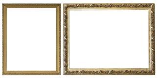 Reeks geïsoleerde kunst lege kaders in gouden royalty-vrije stock afbeelding