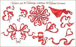 Reeks geïsoleerde rode linten Stock Foto