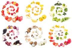 Reeks geïsoleerde spiralen verschillende kleuren van verschillende vruchten en groenten, Stock Afbeelding