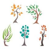 Reeks geïsoleerde verdraaide bomen Royalty-vrije Stock Afbeelding