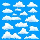 Reeks geïsoleerde werveling of wolken bij hemel vector illustratie