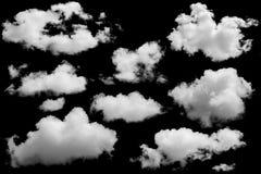 Reeks geïsoleerde wolken over zwarte stock afbeeldingen