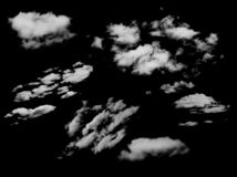 Reeks geïsoleerde wolken over zwarte stock foto's