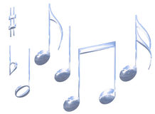 Reeks geïsoleerdee de muzieknootsymbolen van het chroommetaal Stock Foto