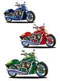 Reeks geïsoleerden fietsen (groen, blauw en rood) Stock Afbeeldingen