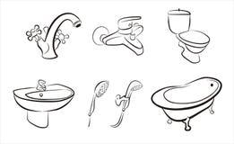 Reeks geïsoleerdeo badkamersapparaten, kranen, douche Stock Foto's