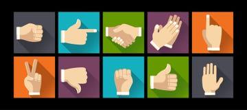 Reeks gebaarhanden op vlakke ontwerpillustratie vector illustratie