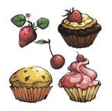 Reeks gebakje zoete cakes met bessen Royalty-vrije Stock Foto