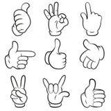 Reeks gebaren. Van handensymbolen (signalen) de inzameling. Beeldverhaalstijl. Geïsoleerd op witte achtergrond. Stock Foto's