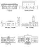 Reeks gebouwen Royalty-vrije Stock Foto