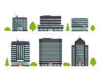 Reeks gebouwen in vlakke stijl De huizen van de stad Vector illustratie stock illustratie