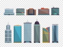 Reeks gebouwen in vlakke stijl De huizen van de stad Vector illustratie Royalty-vrije Stock Fotografie