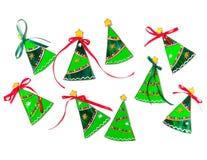 Reeks gebrandschilderd glas met de hand gemaakte Kerstbomen Royalty-vrije Stock Afbeelding