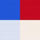 Reeks gebreide naadloze patronen in 4 kleuren Warme wollen gebreide stof voor de winter Hand getrokken naadloze achtergrond Stock Foto's