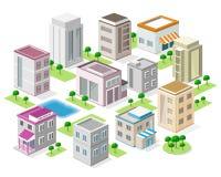 Reeks gedetailleerde isometrische stadsgebouwen 3d vector isometrische stad royalty-vrije illustratie