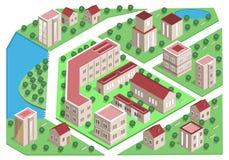 Reeks gedetailleerde isometrische stadsgebouwen 3d vector isometrische stad stock illustratie