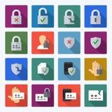 Reeks gegevensbeveiliging en wachtwoord vlakke vectorpictogrammen Stock Afbeeldingen