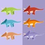 Reeks Gehoornde dinosaurussen Stock Afbeeldingen