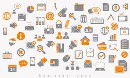Reeks gekleurd pictogrammen bedrijfstekenweb Stock Foto's