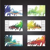 Reeks gekleurde abstracte achtergronden met vierkanten Stock Foto