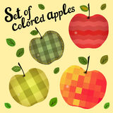 Reeks gekleurde appelen Royalty-vrije Stock Foto's
