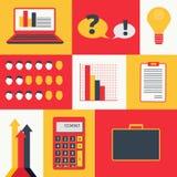 Reeks gekleurde bedrijfsinfographicselementen en pictogrammen De Reeks van het Pictogram van financiën stock illustratie