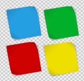 Reeks gekleurde document stickers over transparante achtergrond Stock Foto's
