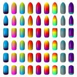 Reeks gekleurde geschilderde spijkers manicure samenstellings producten Royalty-vrije Stock Fotografie