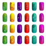 Reeks gekleurde geschilderde spijkers manicure samenstellings producten Stock Foto's