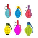 Reeks gekleurde handgranaten Pret kleurrijke militaire munitie Stock Foto's