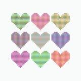 Reeks gekleurde harten van de vierkanten en de driehoeken Stock Afbeelding