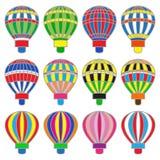 Reeks gekleurde hete baloons Royalty-vrije Stock Foto's