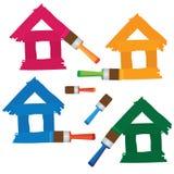 Reeks gekleurde huizen. Royalty-vrije Stock Foto's