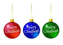 Reeks gekleurde Kerstmisballen Stock Illustratie