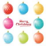 Reeks gekleurde Kerstmisballen op witte achtergrond Vector illustratie Royalty-vrije Stock Afbeeldingen