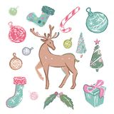 Reeks gekleurde Kerstmiselementen Royalty-vrije Stock Fotografie