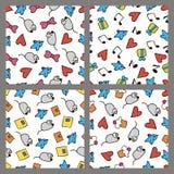 Reeks gekleurde patronen in de tekening van de stijlhand Royalty-vrije Stock Afbeeldingen