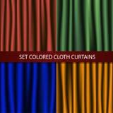 Reeks gekleurde stoffengordijnen Royalty-vrije Stock Foto