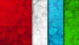 Reeks gekleurde vage achtergronden met twinkly lichten royalty-vrije illustratie