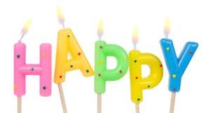Reeks gekleurde verjaardagskaarsen Stock Afbeeldingen