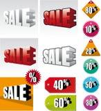 Reeks gekleurde verkoopetiketten Stock Afbeeldingen