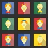 Reeks gekleurde vierkante pictogrammen met vlakke hoofdenclowns Stock Afbeeldingen