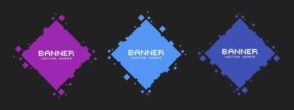 Reeks gekleurde vierkante pixelbanners Vector lege kaders klaar voor uw tekst stock illustratie