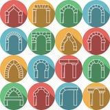 Reeks gekleurde vlakke pictogrammen voor overwelfde galerij Stock Afbeelding