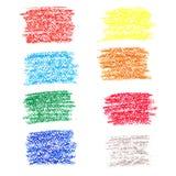 Reeks gekleurde vlekken van waskleurpotloden Royalty-vrije Stock Foto's