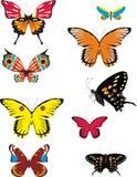 Reeks gekleurde vlinders Royalty-vrije Stock Fotografie