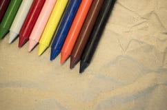 reeks gekleurde waskleurpotloden Royalty-vrije Stock Foto's
