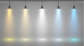 Reeks gekleurde zoeklichten op een transparante achtergrond Heldere verlichting met schijnwerpers Het zoeklicht is wit, blauw royalty-vrije illustratie
